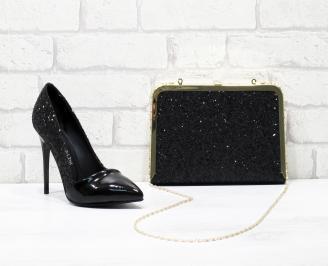 Комплект дамски обувки и чанта еко кожа  черни HSDT-25840