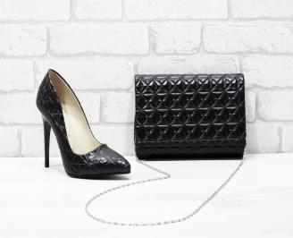 Комплект дамски обувки и чанта еко кожа  черни CSWE-25841