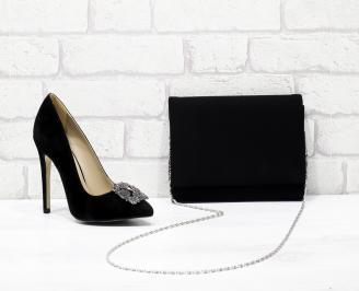 Комплект дамски обувки и чанта еко набук черни BMKI-25842