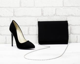 Комплект дамски обувки и чанта еко набук черни HBCA-25843