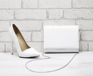 Комплект дамски обувки и чанта еко кожа/лак бели POLZ-25844