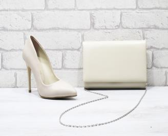 Комплект дамски обувки и чанта еко кожа бежови FTXZ-25845