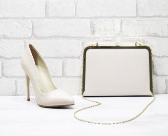 Комплект дамски обувки и чанта еко кожа бежови DVLD-25846