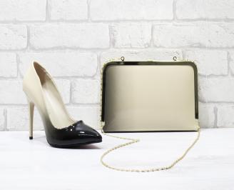 Комплект дамски обувки и чанта еко кожа/лак бежови AGGP-25847