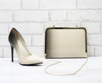 Комплект дамски обувки и чанта еко кожа/лак бежови APYL-25848