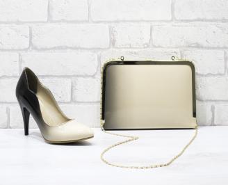 Комплект дамски обувки и чанта еко кожа/лак бежови FKPP-25849