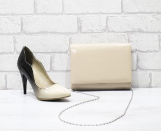 Комплект дамски обувки и чанта еко кожа/лак бежови BEZH-25850