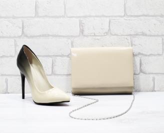 Комплект дамски обувки и чанта еко кожа/лак бежови LZOW-25851
