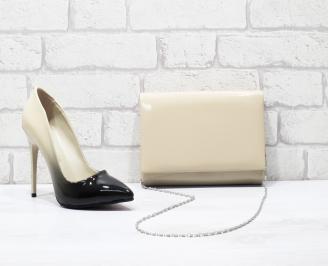 Комплект дамски обувки и чанта еко кожа/лак бежови XBCF-25852