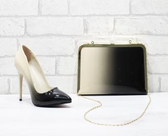 Комплект дамски обувки и чанта еко кожа/лак бежови MXJS-25853