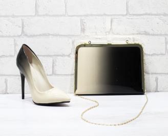Комплект дамски обувки и чанта еко кожа/лак бежови GQVW-25854