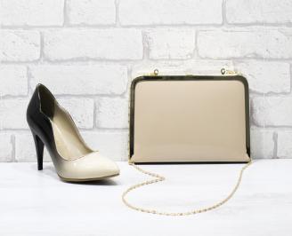 Комплект дамски обувки и чанта еко кожа/лак бежови AHCK-25856