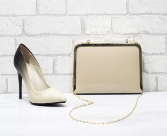 Комплект дамски обувки и чанта еко кожа/лак бежови RCOO-25857