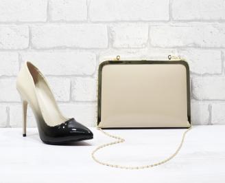 Комплект дамски обувки и чанта еко кожа/лак бежови WLPY-25858
