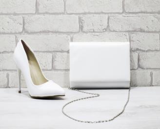Комплект дамски обувки и чанта еко кожа бели SRUQ-25859