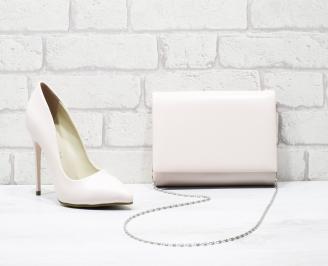 Комплект дамски обувки и чанта еко кожа пудра VVRV-25860