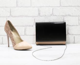 Комплект дамски обувки и чанта еко кожа/лак пудра RZVX-25861