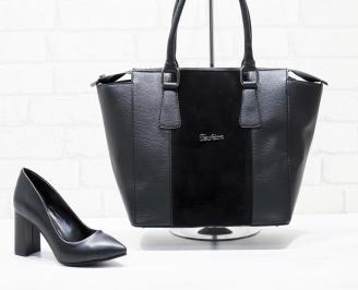 Комплект дамски обувки и чанта еко кожа/черни CTDK-25862