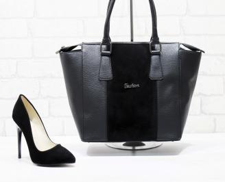 Комплект дамски обувки и чанта еко кожа черни CLLJ-25863