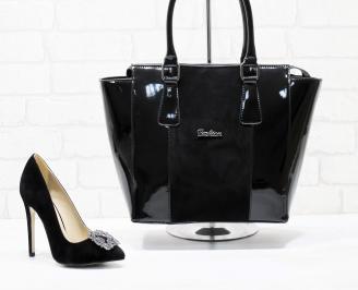 Комплект дамски обувки и чанта еко набук черни OSXA-25864