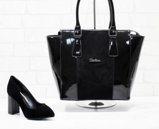 Комплект дамски обувки и чанта еко набук черни ROPJ-25865