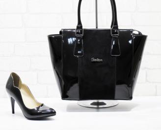 Комплект дамски обувки и чанта еко кожа/лак черни TWCJ-25866