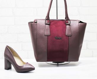 Комплект дамски обувки и чанта еко кожа бордо GIQY-25867