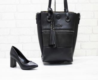 Комплект дамски обувки и чанта еко кожа черни MSZY-25869
