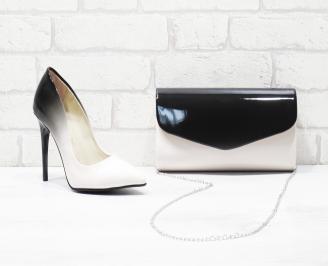 Комплект дамски обувки и чанта еко кожа/лак пудра MNRW-25984