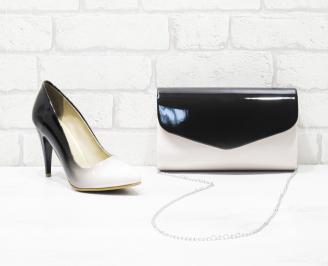 Комплект дамски обувки и чанта еко кожа/лак бежови TGXN-25985
