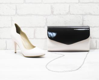 Комплект дамски обувки и чанта еко кожа/лак пудра FWXM-25986