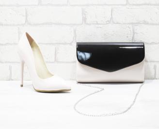 Комплект дамски обувки и чанта еко кожа/лак пудра DUOY-25987
