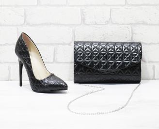 Комплект дамски обувки и чанта еко кожа черни NQJJ-25988