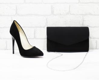 Комплект дамски обувки и чанта еко  набук черни TXWM-25989