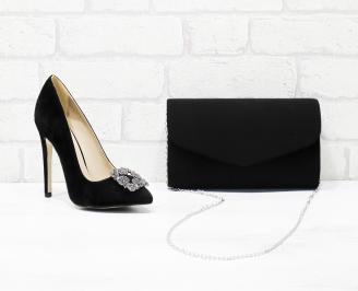 Комплект дамски обувки и чанта еко  набук черни LKRI-25990