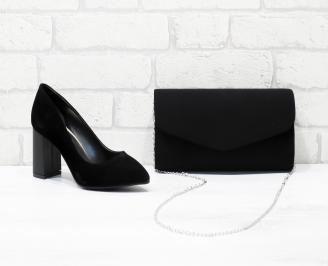 Комплект дамски обувки и чанта еко набук черни DREJ-25991