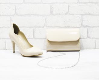 Комплект дамски обувки и чанта еко кожа/лак бежови BVYN-25992