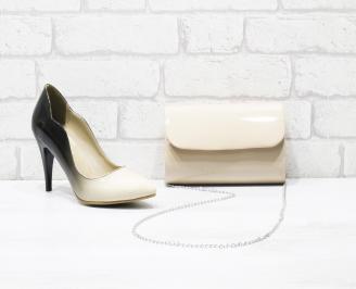 Комплект дамски обувки и чанта еко кожа/лак бежови TCZO-25993