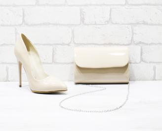 Комплект дамски обувки и чанта еко кожа/лак бежови UOBL-25994