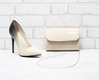 Комплект дамски обувки и чанта еко кожа/лак бежови BHES-25995