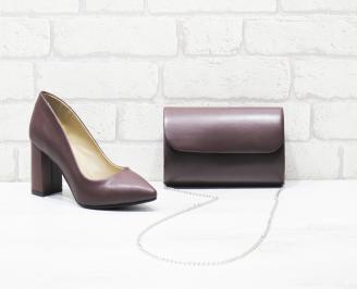Комплект дамски обувки и чанта еко кожа бордо QYUE-25996