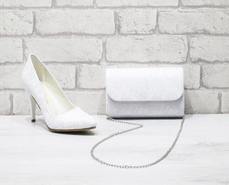 Комплект дамски обувки и чанта еко кожа/лак бели MSDC-25997