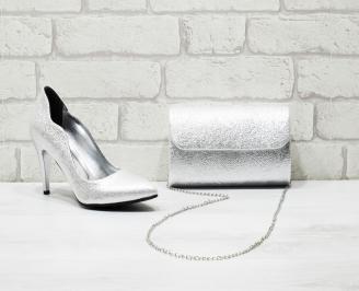 Комплект дамски обувки и чанта еко кожа сребристи GCJS-25999