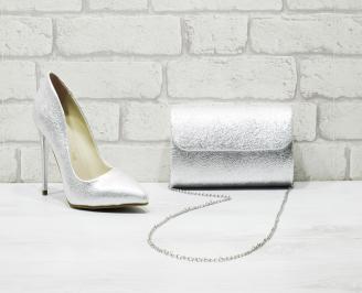 Комплект дамски обувки и чанта еко кожа сребристи OAKB-26000