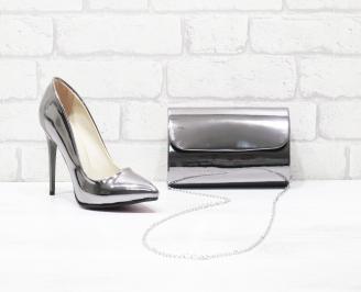 Комплект дамски обувки и чанта еко кожа/лак сребристи XNGH-26001