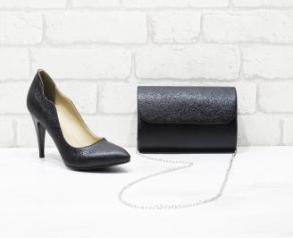 Комплект дамски обувки и чанта еко кожа черни DAJF-26002