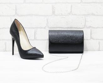 Комплект дамски обувки и чанта еко кожа черни WGOF-26003