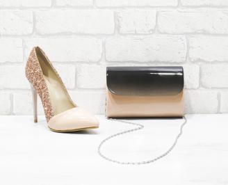 Комплект дамски обувки и чанта еко кожа/брокат пудра UZRS-26004