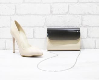 Комплект дамски обувки и чанта еко кожа/лак бежови CCKL-26006