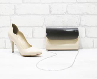Комплект дамски обувки и чанта еко кожа/лак бежови GPWY-26007